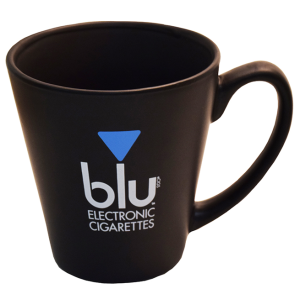 """A branded mug received from the blu electronic cigarette company.  Tobacco companies that were part of the tobacco settlements are not allowed to brand items like this.  However, electronic cigarettes companies can.  In order to """"win"""" this mug, consumers were required to complete a variety of activities, such as read articles about blu, like the blu Facebook page and earn points.  These points could be redeemed for a variety of different items."""